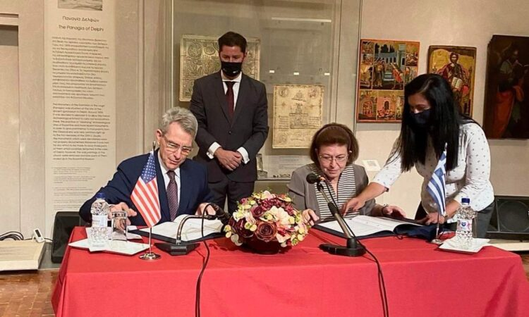 Ambassador Pyatt w Greek Minister of Culture Mendoni at the signing of MOU