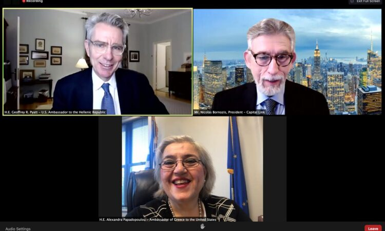 Ambassador Pyatt delivers remarks at Capital Link Forum (screenshot)
