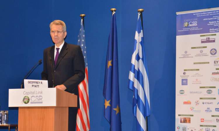 Ambassador Pyatt delivers remarks at Capital Link Forum (State Department Photo)