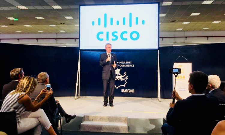 Ambassador Pyatt Delivers Remarks at CISCO's Pavilion (State Department Photo)
