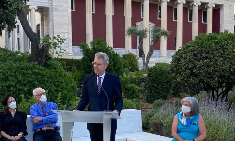 Ambassador Pyatt delivers remarks at Gennadius Library (State Department Photo)