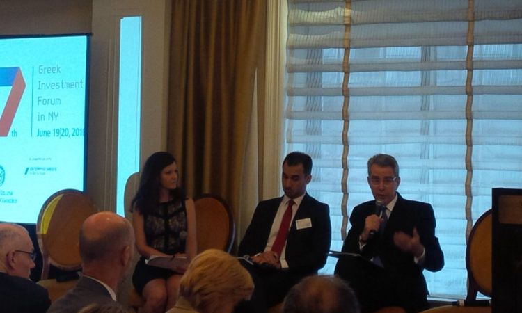 Ambassador Pyatt at 7th Annual Greek Investment Forum in NY, speaks with Alt Min Charitsis on panel moderated by @CNN Penny Manis