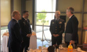 Ambassador Pyatt discusses with General Harrigian, U.S. Air Forces in Europe-Air Forces Africa, and General Christodoulou, chief of the Hellenic armed forces general staff (State Department Photo)