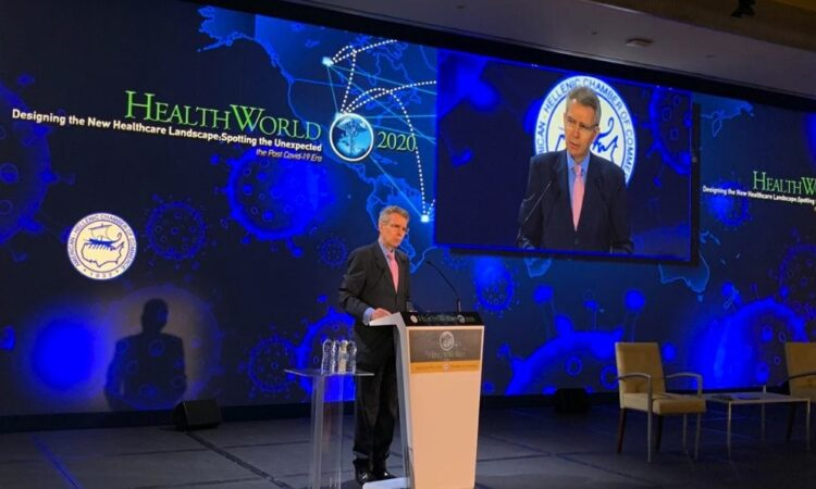 Ambassador Pyatt delivers remarks at AmCham Healthworld Conference (State Department Photo)