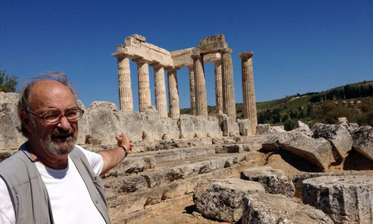 Stephen Miller stands in front of the Temple of Nemean Zeus, southwest of Athens, September 25, 2013. [AP]
