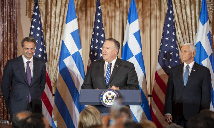 Secretary Pompeo at Reception iho Greek Prime Minister Kyriakos Mitsotakis and Mrs. Mitsotakis (State Department Photo)