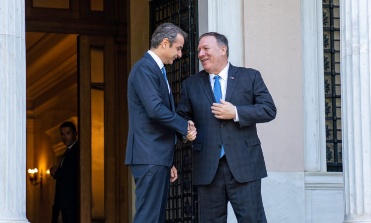 U.S. Secretary of State Michael R. Pompeo meets with Greek Prime Minister Kyriakos Mitsotakis in Athens, Greece, on October 5, 2019. [State Department photo by Ron Przysucha/ Public Domain]