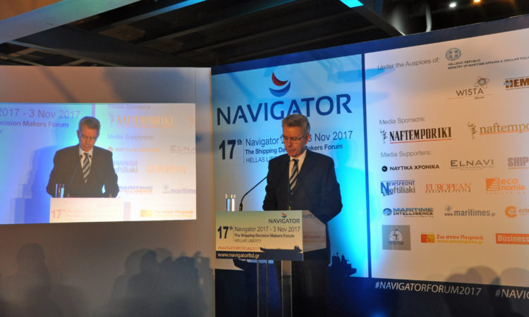 Ambassador Pyatt delivers remarks at 17th Navigator Maritime Forum (State Department Photo)