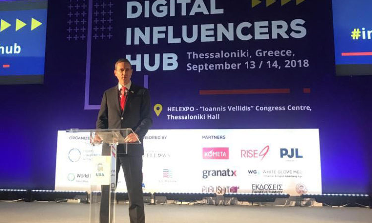Thessaloniki Consul General Pfleger delivers remarks at Digital Influncers Hub, USATIF 2018 (State Department Photo)