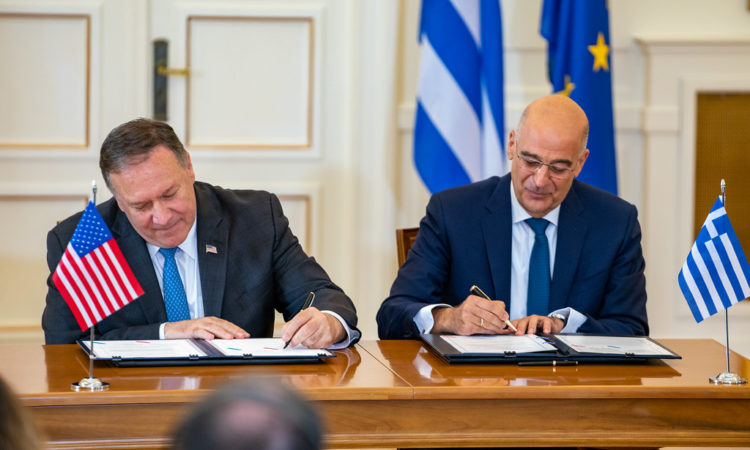 U.S. Secretary of State Michael R. Pompeo participates in a signing ceremony of the U.S.-Greece Mutual Defense Agreement with Greek Foreign Minister Nikolaos Dendias in Athens, Greece, on October 5, 2019. [State Department photo by Ron Przysucha/ Public Domain]