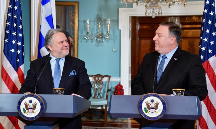 Secretary of State Michael R. Pompeo and Greek Acting Minister of Foreign Affairs George Katrougalos address reporters following the U.S.-Greece Strategic Dialogue at the U.S. Department of State in Washington, D.C., on December 13, 2018. [State Department photo/ Public Domain]