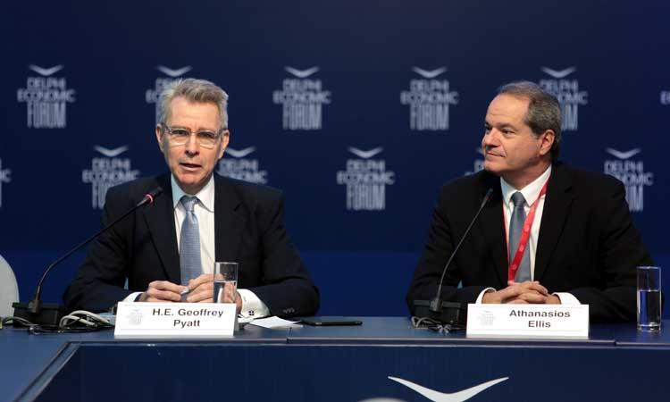 US Ambassador to Greece Geoffrey Pyatt in conversation with English Kathimerini Editor in Chief Tom Ellis at the 2019 Delphi Economic Forum.
