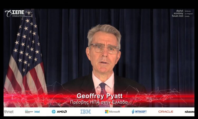 Ambassador Pyatt delivers remarks at Digital Economy Forum 2020 (screenshot)