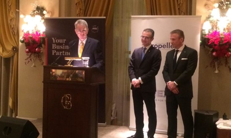 Ambassador Pyatt delivers remarks at AmCham Thanksgiving Dinner, Propeller Club, Nov. 25