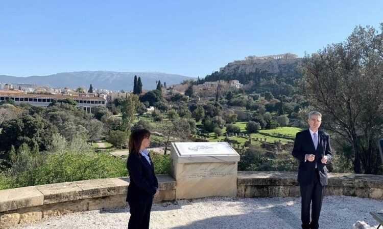 Ambassador Pyatt w President of the Hellenic Republic Katerina Sakellaropoulou at Ancient Agora (State Department Photo)