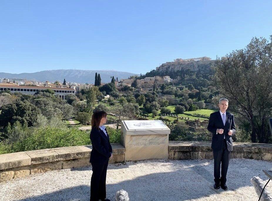 Ambassador Pyatt w President of the Hellenic Republic Katerina Sakellaropoulou at Ancient Agora (State Department Photo)