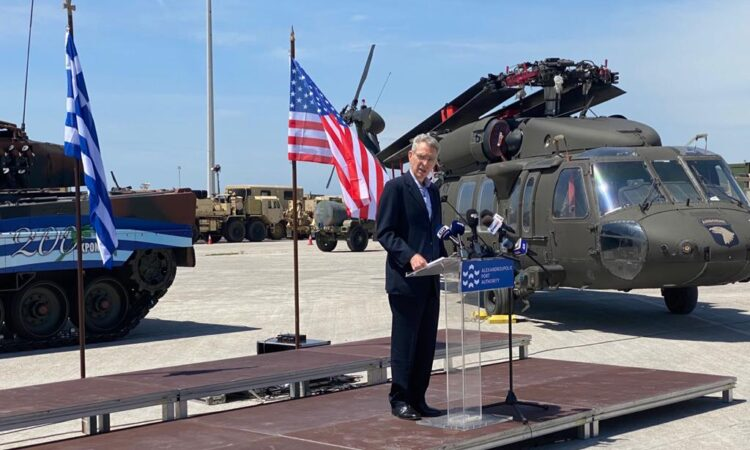 Ambassador Pyatt delivers remarks in Alexandroupolis at Defender-Europe 21 DV Day