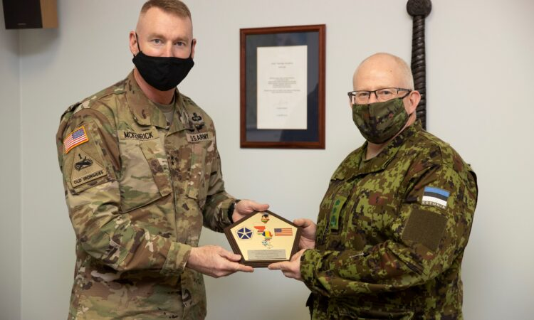 U.S. Major General Terrence McKenrick meets with Major General Indrek Sirel, the Estonian Deputy Chief of Defense, at the Estonian Defense Forces Headquarters, on October 27, 2020. [Photo by Estonian Defense Forces]
