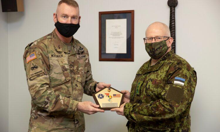 U.S. Major General Terrence McKenrick meets with Major General Indrek Sirel, the Estonian Deputy Chief of Defense, at the Estonian Defense Forces Headquarters, on October 27, 2020. [Photo by Estonian Defense Forces]