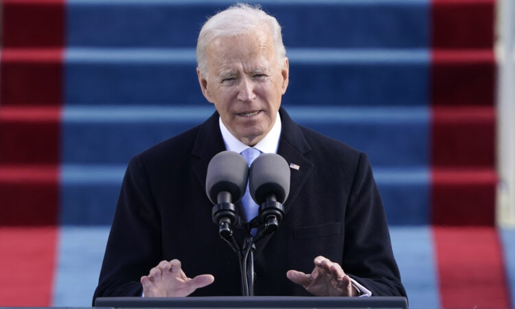 President Joe Biden speaks during the 59th Presidential Inauguration at the U.S. Capitol