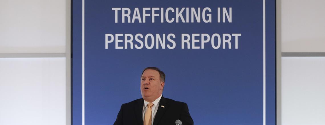 Госсекретаря Помпео на презентации Доклада о ситуации с торговлей людьми