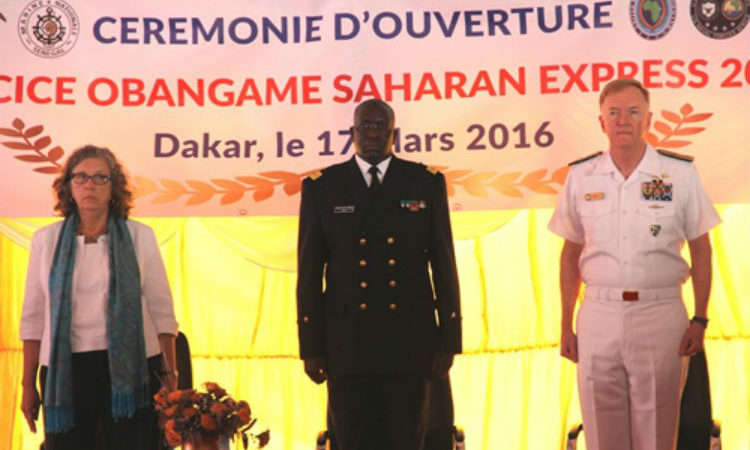From left to right: Chargé d'Affaires Sandra Clark, Rear Admiral Cheikh Bara Sissoko, and Vice Adm. James Foggo.