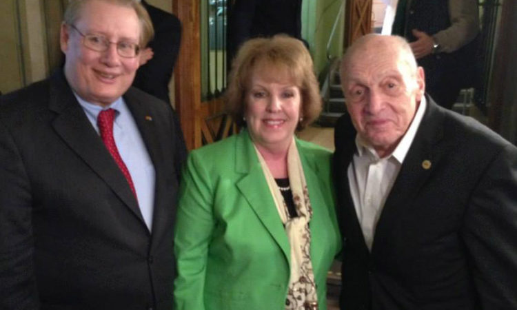 "CG Milas and his wife Eileen with ""Monuments Man"" Harry Ettlinger in Karlsruhe (Photo: State Department)"
