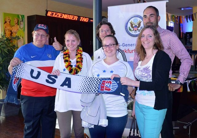 CG Milas and friends cheer for their national teams (Photo: State Department)