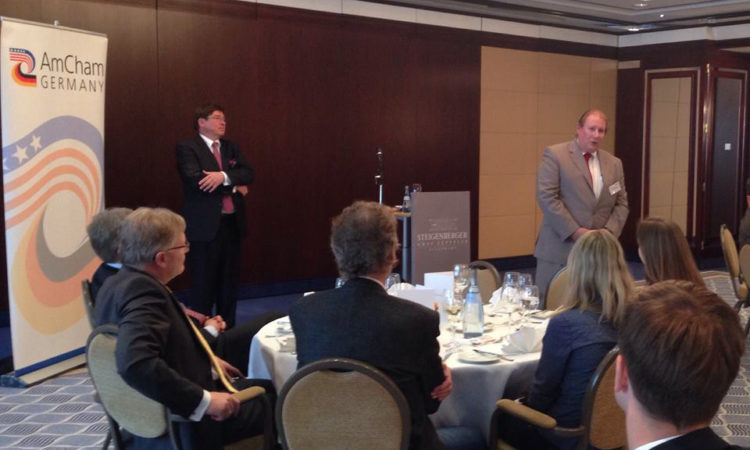 CG Milas speaks about T-TIP and transatlantic economic ties at an AmCham luncheon (Photo: State Department)