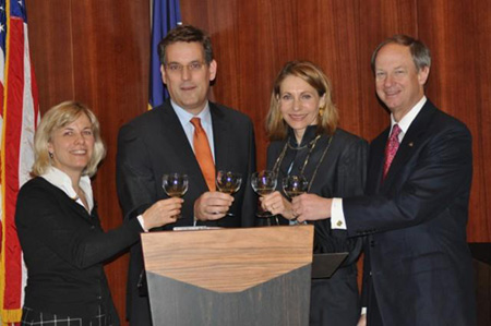 From left to right: Ms. Claudia Schug Schuetz, Prof. Dr. Erik Schweickert, Mrs. Emerson, Ambassador Emerson