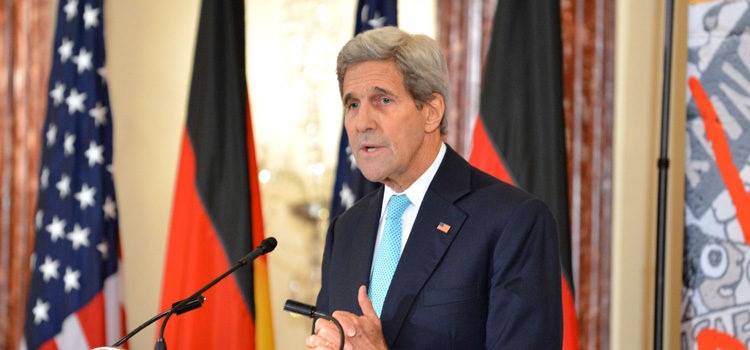 U.S. Secretary of State John Kerry delivers remarks at an event to commemorate the arrival of a segment of the Berlin Wall that will be displayed in the U.S. Diplomacy Center, at the U.S. Department of State in Washington, D.C., on October 7, 2015. [State Department photo/ Public Domain]