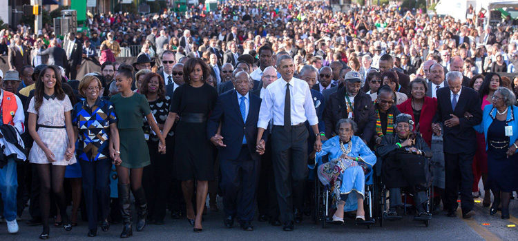 March with President Obama and others