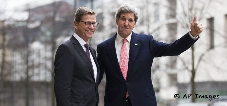 German Foreign Minister Guido Westerwelle welcomes US Secretary of State John Kerry