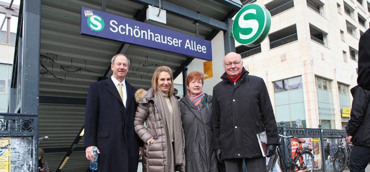 Walter and Anne Momper with Ambassador and Mrs. Emerson at Schönhauser Allee S-Bahnhof