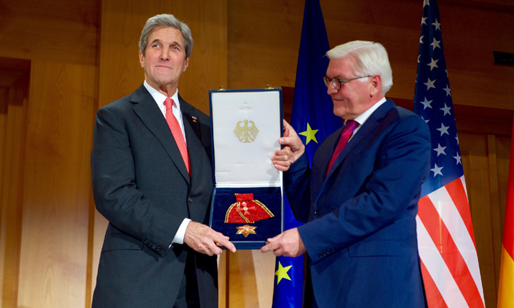 Secretary Kerry Poses With German Foreign Minister Steinmeier After Receiving the Order of Merit in Berlin