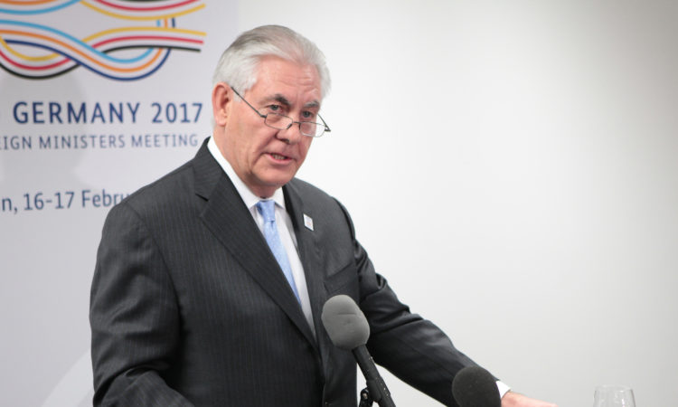 Secretary Tillerson Addresses Reporters at G-20 FM Meeting in Bonn