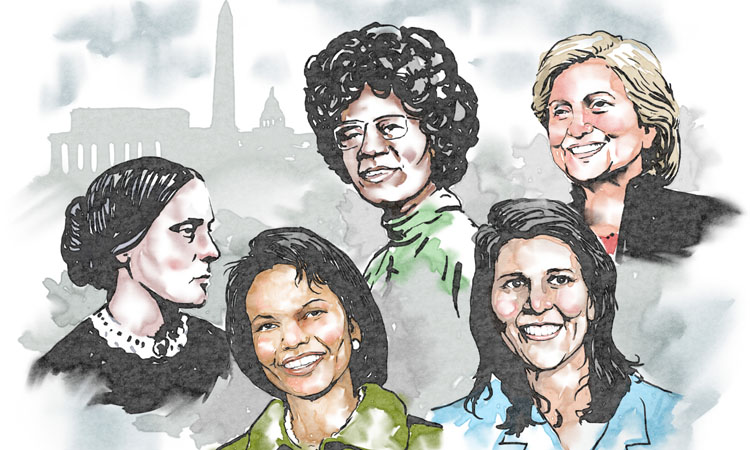 Diese Frauen haben Geschichte geschrieben. Susan B. Anthony, Condoleezza Rice, Shirley Chisholm, Nikki Haley and Hillary Clinton (von links).