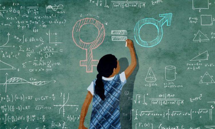 Ein Mädchen schreibt mathematische Gleichungen auf eine Tafel (Foto: US-Außenministerium/Doug Thompson)