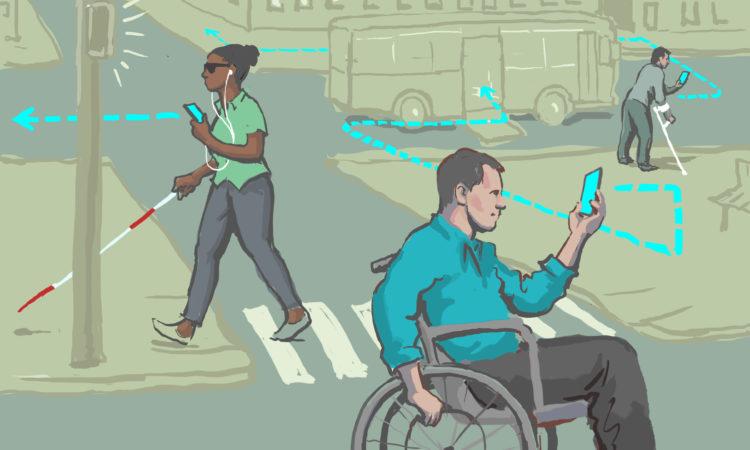 Menschen mit Behinderungen verwenden Mobilgeräte, um sich in den Straßen der Stadt zurechtzufinden. (Foto: US-Außenministerium/Doug Thompson)
