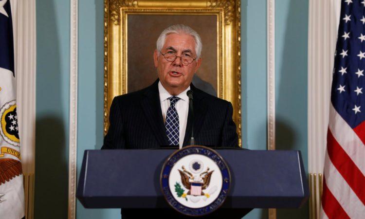 US-Außenminister Tillerson am Rednerpult. (Foto: REUTERS/Jonathan Ernst)