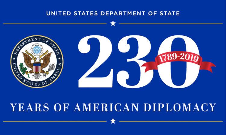 Logo zu 230 Jahren US-Diplomatie (US-Außenministerium)