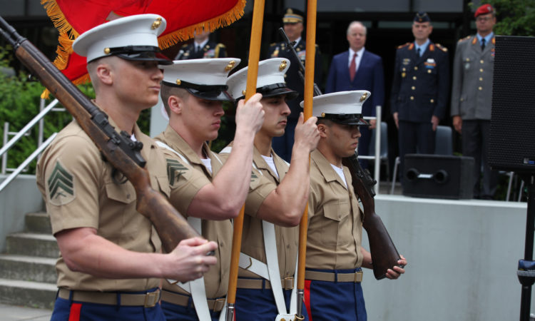 The U.S. Embassy's Marine Corps Security Detachment presents the Colors during the celebration of Armed Forces Day 2018