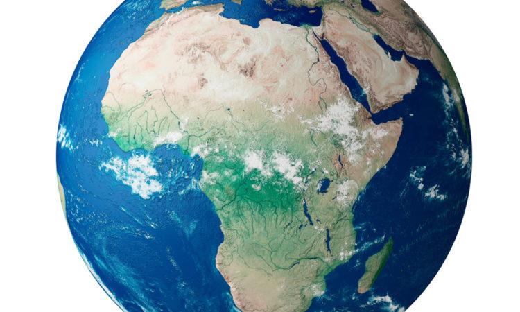 Der afrikanische Kontinent auf einem Globus