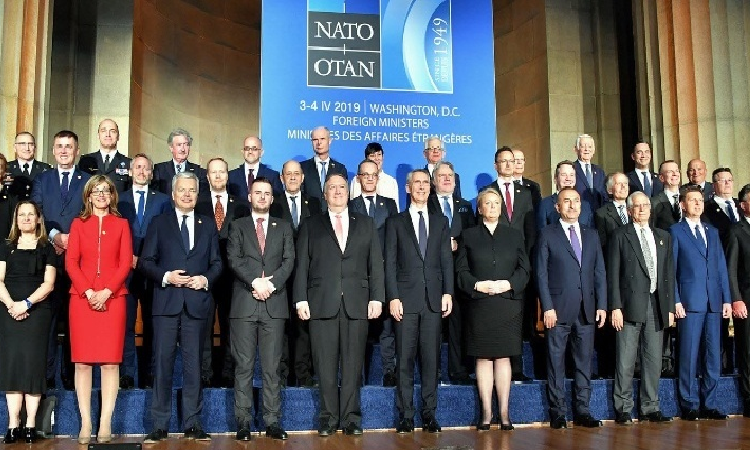 Date: 04/03/2019 Description: U.S. Secretary of State Michael R. Pompeo poses for a family photo with NATO Secretary General Jens Stoltenberg and fellow foreign ministers at the Reception to celebrate NATO's 70th Anniversary at the Andrew W. Mellon Auditorium in Washington, DC, on April 3, 2019. - State Dept Image