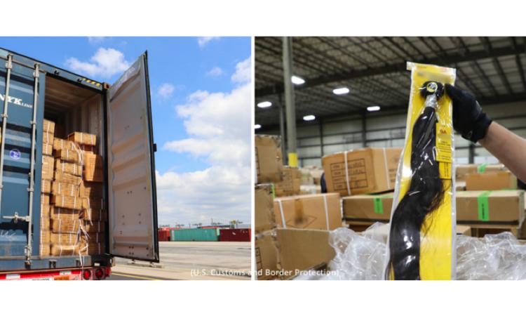 Lastwagen mit geöffnetem Laderaum voller Kartons; Haarteil in Plastikverpackung