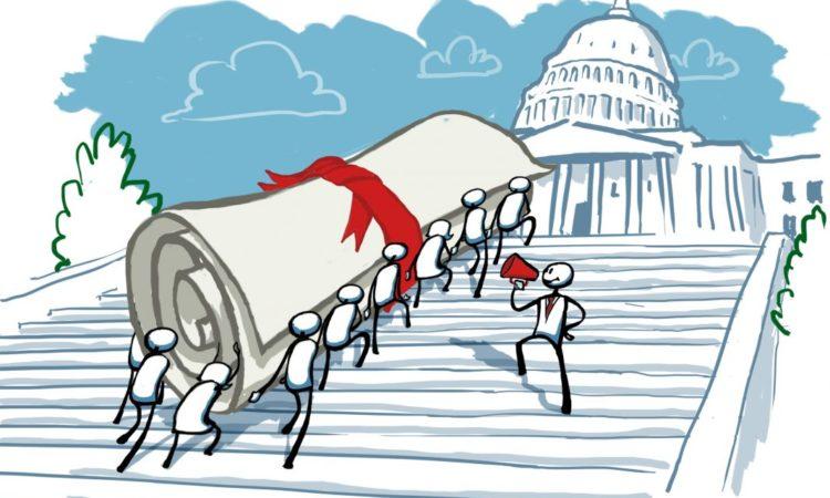 Zeichnung von Menschen, die eine riesige Dokumentenrolle die Stufen zum Kapitol hinauftragen (Foto: US-Außenministerium/D. Thompson)