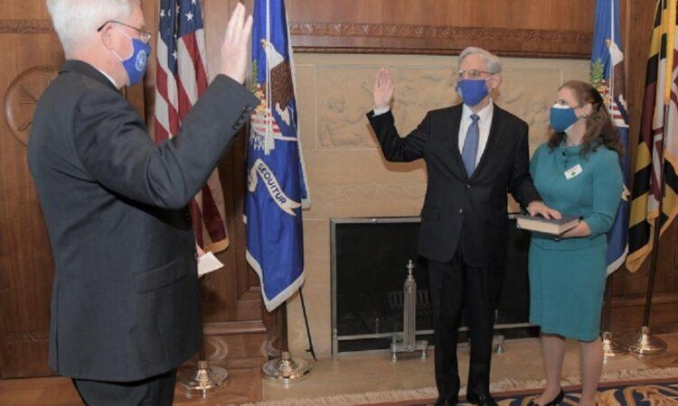 US-Justizminister Garland leistet seinen Amtseid.