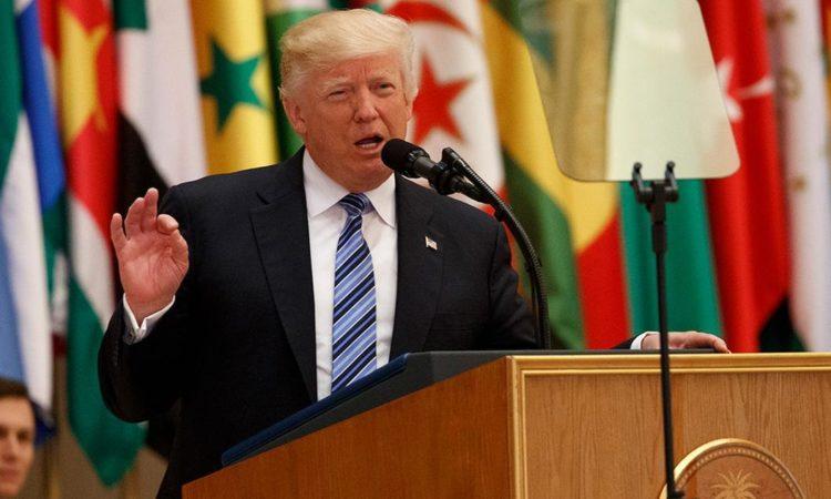 President Donald Trump delivers a speech to the Arab Islamic American Summit, at the King Abdulaziz Conference Center in Saudi Arabia. (AP Photo/Evan Vucci)