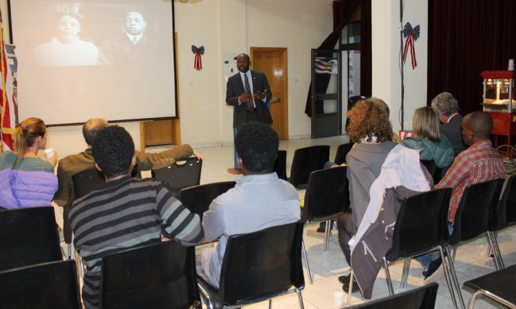PAO Edward Thompson explaining about Black History Month to the audience