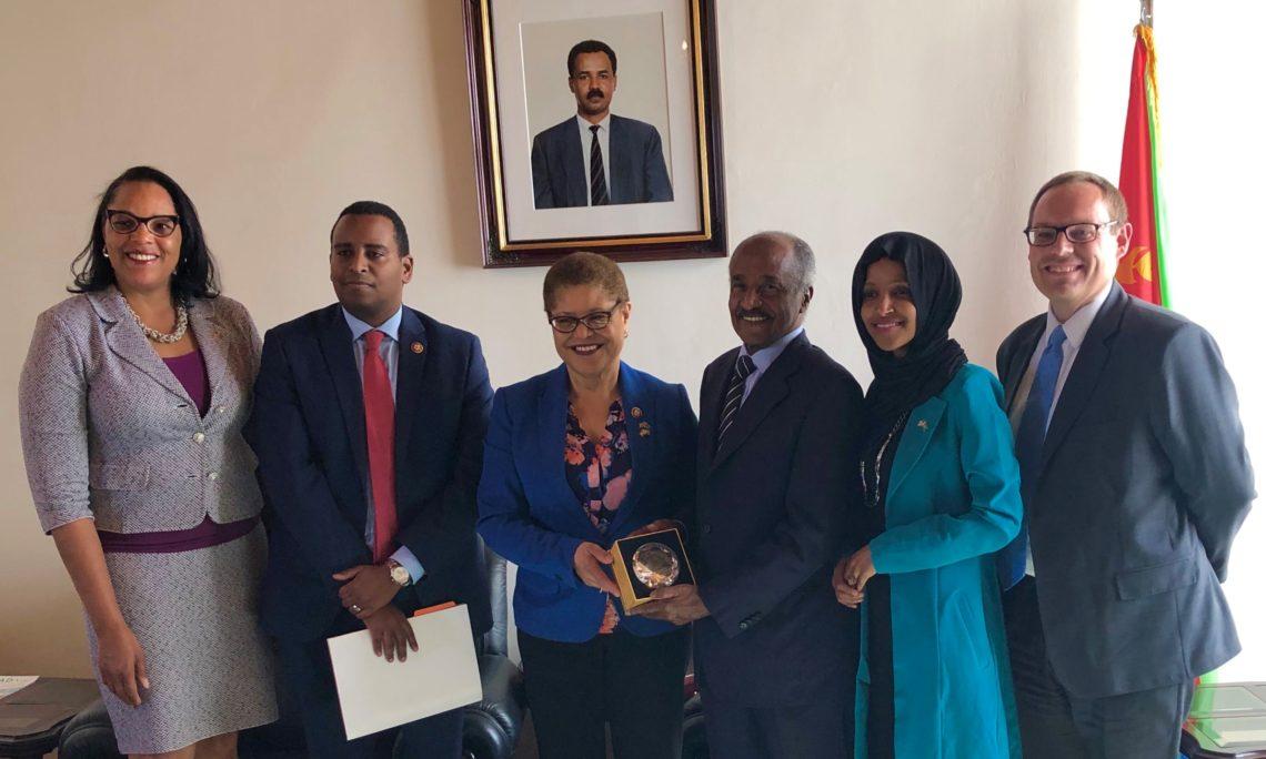 COM Natalie E. Brown, Rep. Joe Neguse, Rep. Karen Bass, MOFA. Osman Saleh, Rep. Ilhan Omar and DCM Stephen Banks